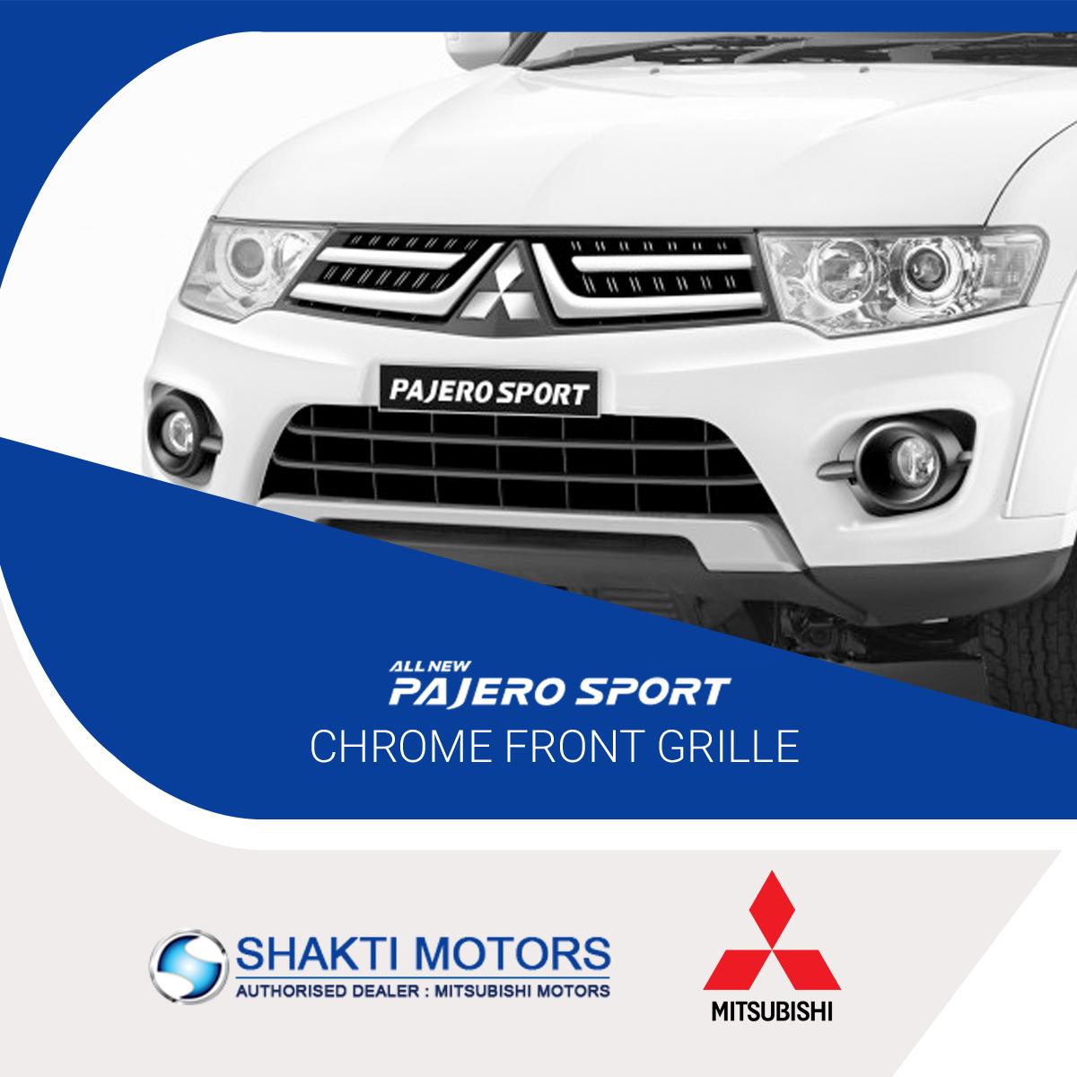 #PajeroSports Chrome Front Grille #ShaktiMotors: https://goo.gl/Lg8QAr #Pajero #Mitsubishi #MitsubishiPajero #SmartSUV #SUVCar #MyCar
