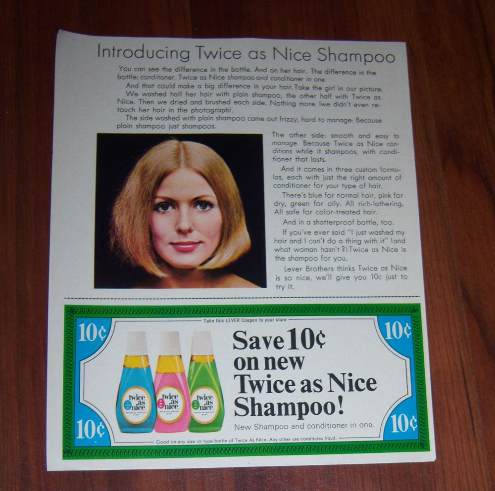1960s or 70s twice as nice shampoo conditioner paper ad