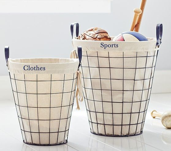 Round Wire Basket With Liner | Pottery Barn Kids