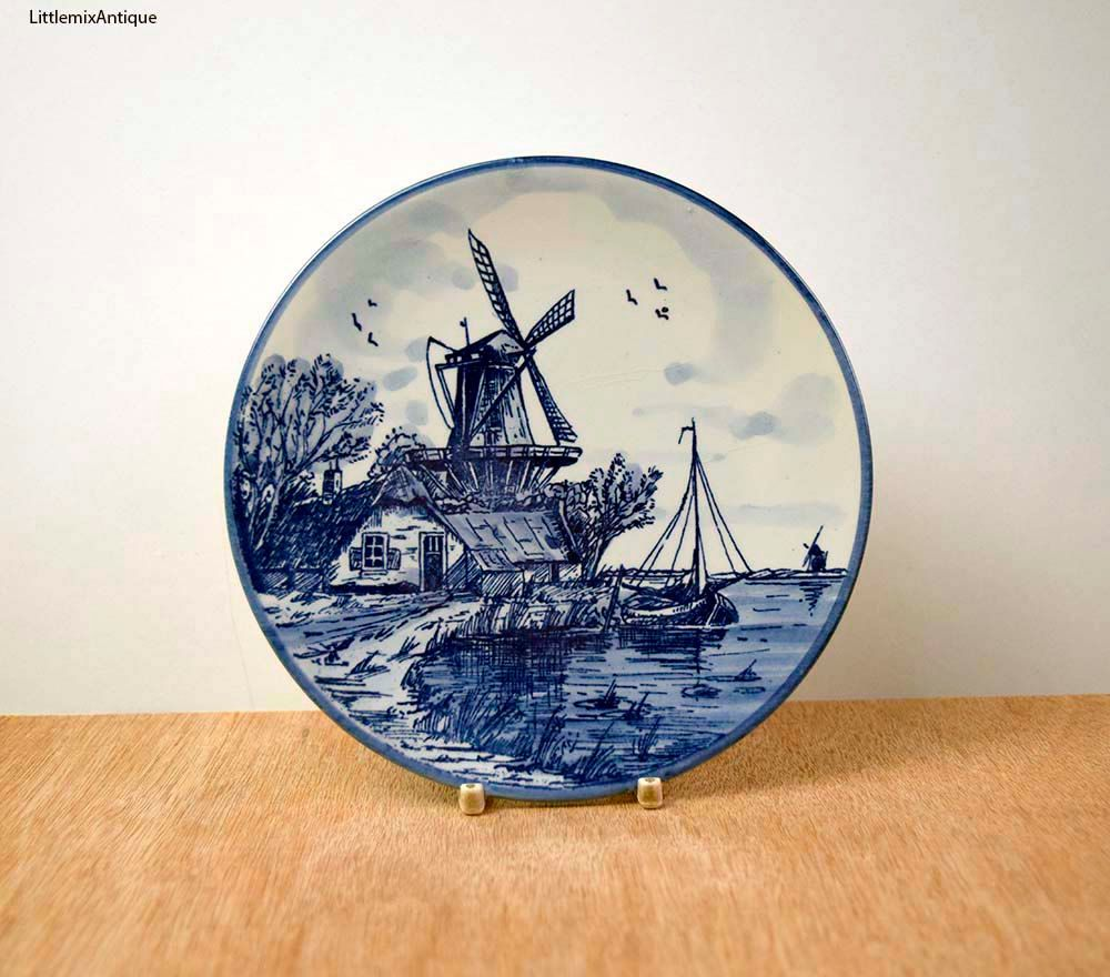 Small Decorative Plates Vintage Delft Blue Handpainted Made In Holland Blue And White