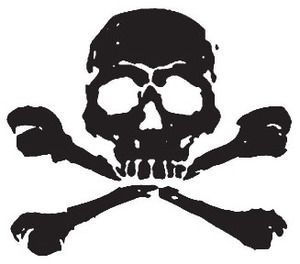 Pirate Rubber Stamp Skull and Cross Bones