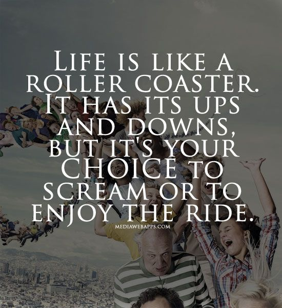 Life is like a roller coaster. It has its ups and downs