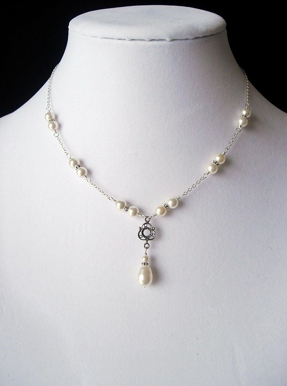 White Swarovski Pearl, Antique Sterling Silver Filigree, Teardrop ...