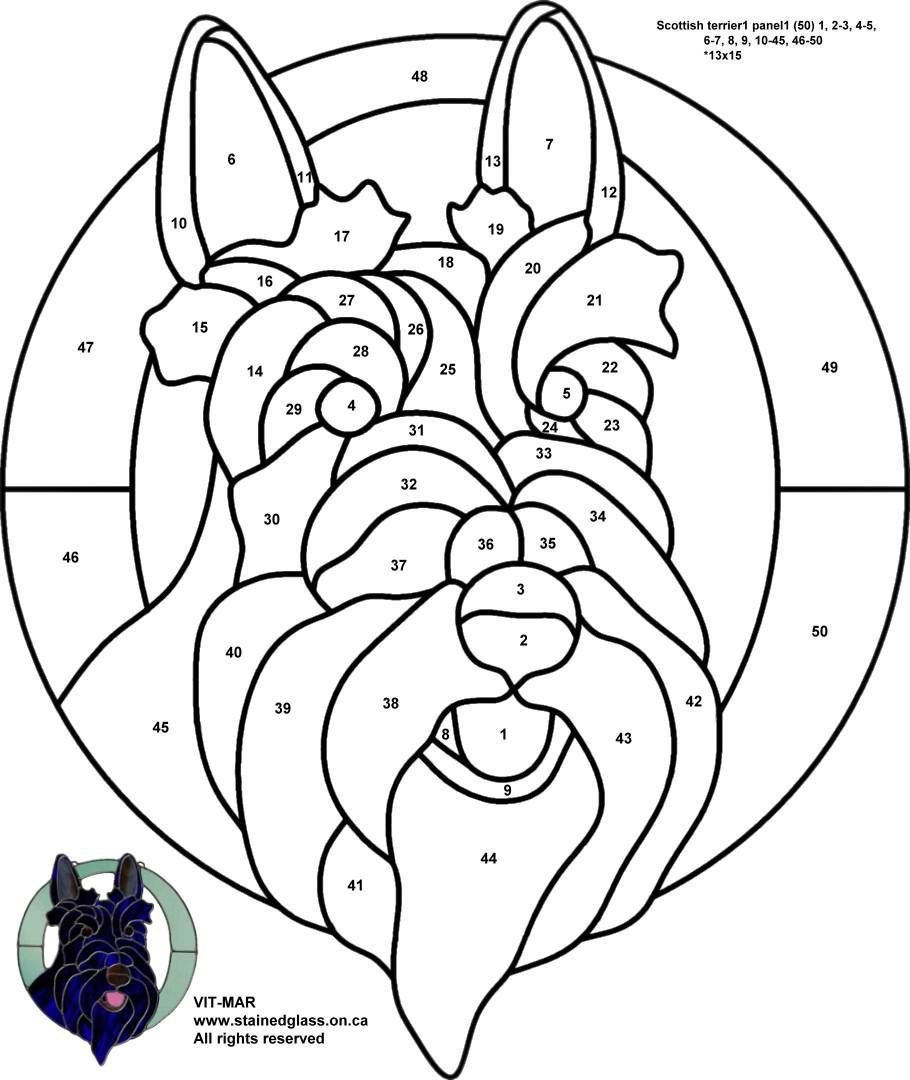 Scottish terrier stained glass pattern (With images