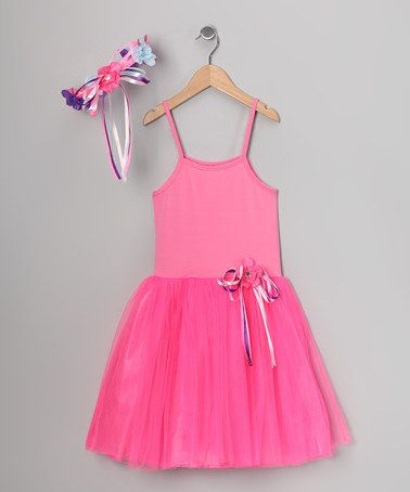Pink Ribbon Dress & Flower Halo by Princess Expressions