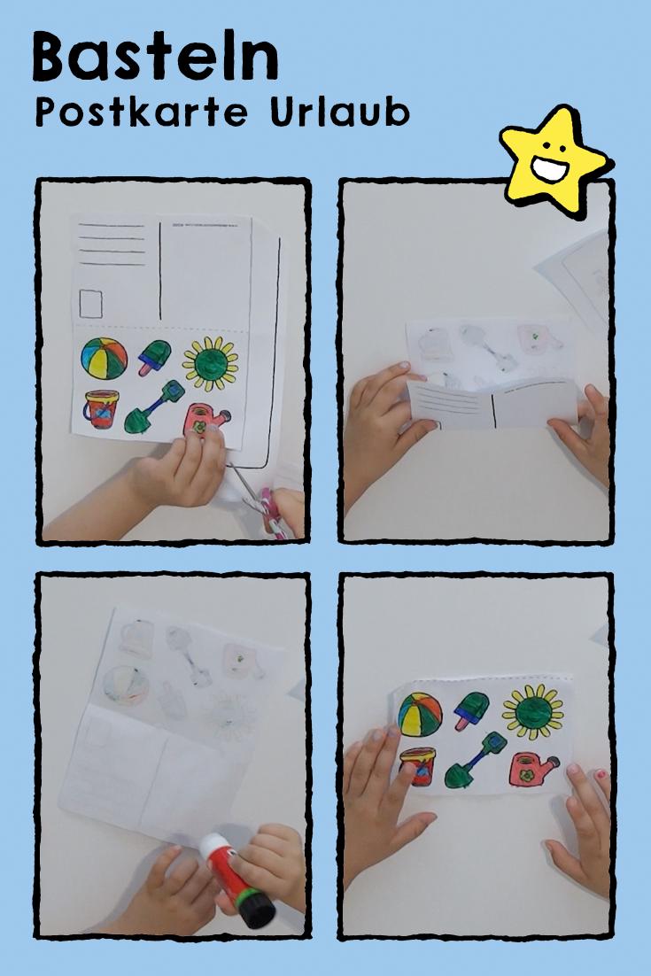 postkarte urlaub  kleurplaten knutselen kinderen