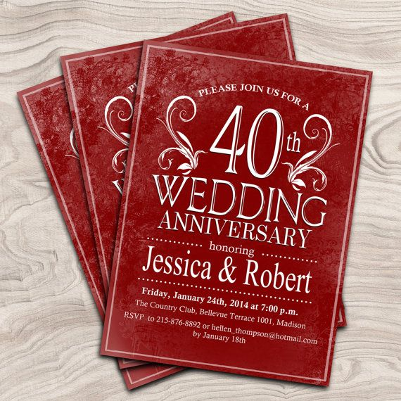 Pin By Nancy Bosum On 40th Anniversary Party Ideas 40th Wedding Anniversary Wedding Anniversary Invitations 40th Anniversary Ideas