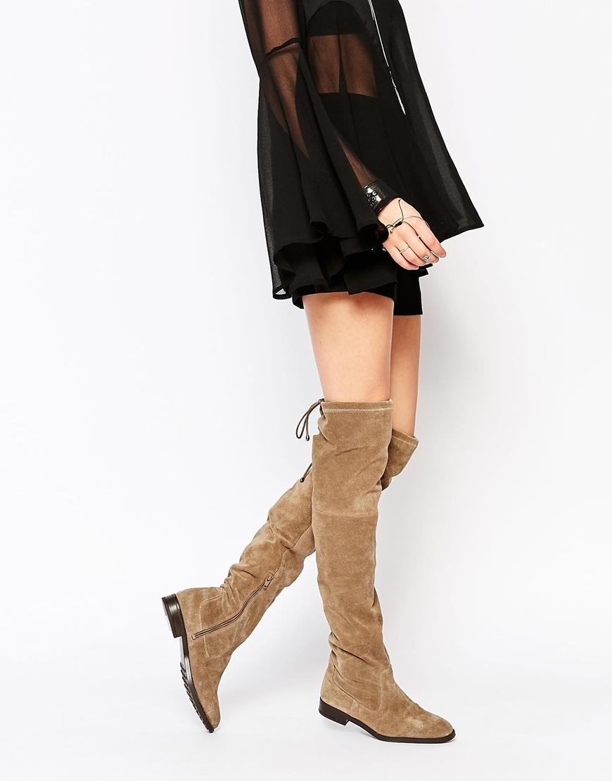 f9435b45f ALDO | ALDO Barra Taupe Suede Flat Over The Knee Boots at ASOS ...