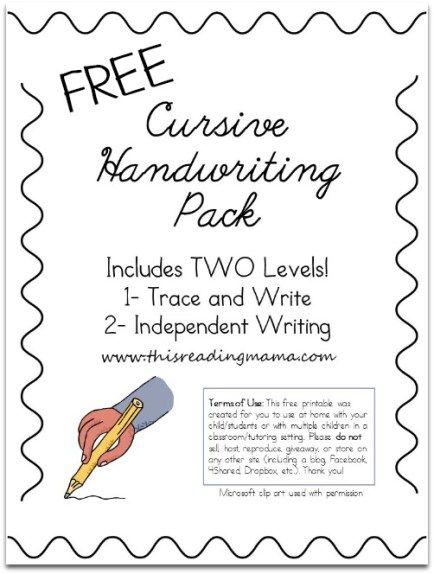 Free Cursive Handwriting Worksheets Teaching Cursive Learning