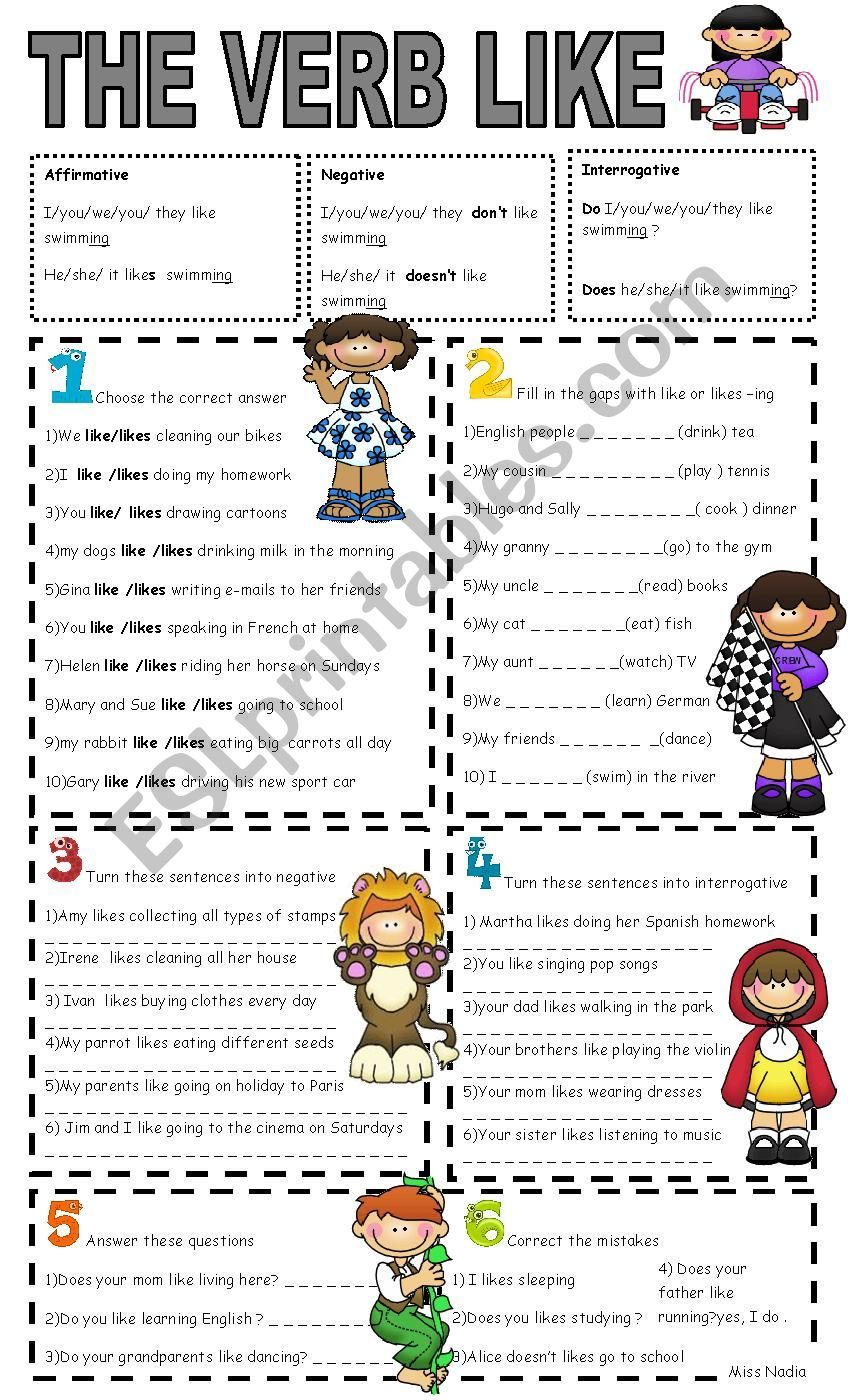 1 Choose Between Like Or Likes 2 Fill In With Like Likes A Verb Ending In Ing 3 Make T English Worksheets For Kids English Curriculum English Lessons [ 1400 x 850 Pixel ]