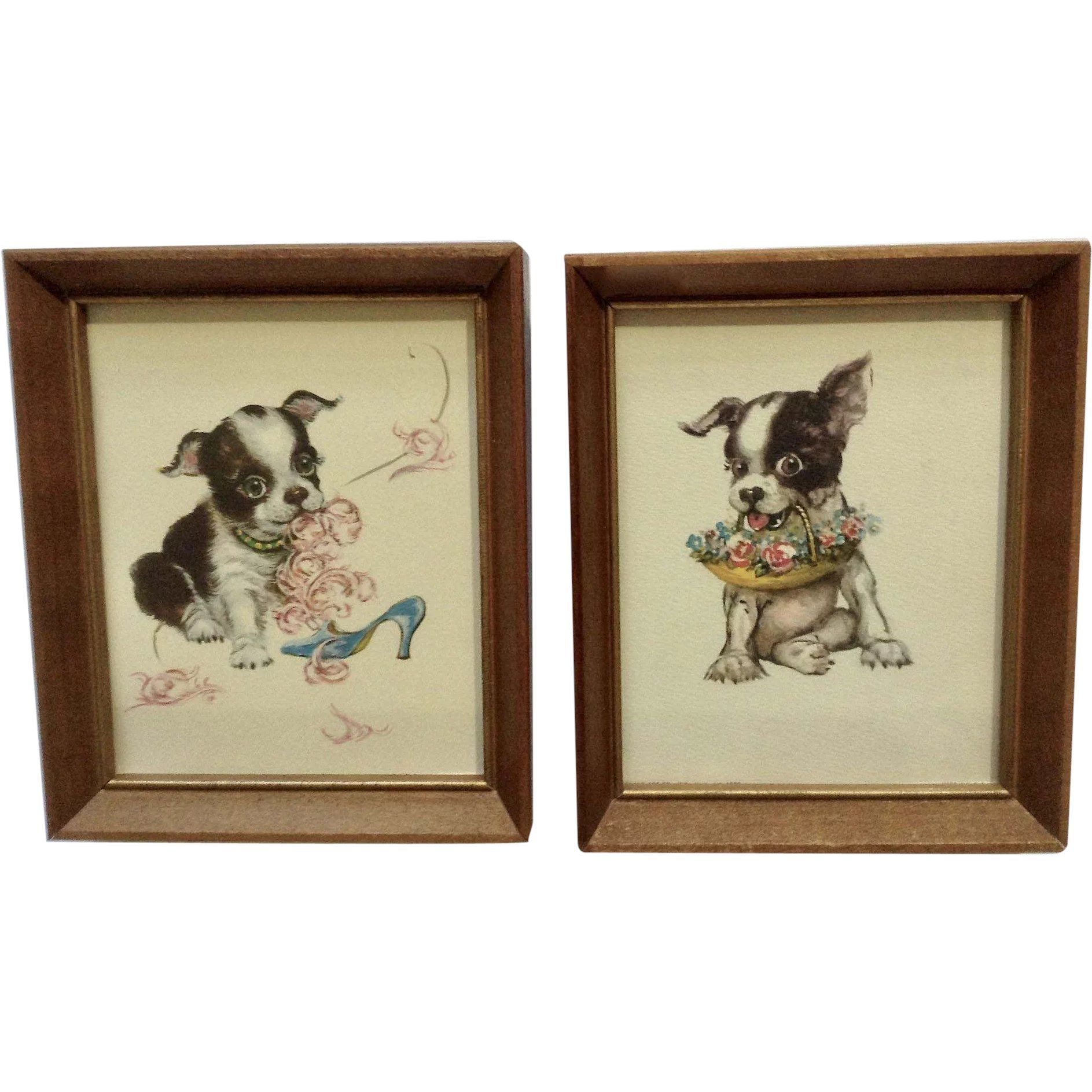 Adorable black and white bulldog puppy prints from donald art