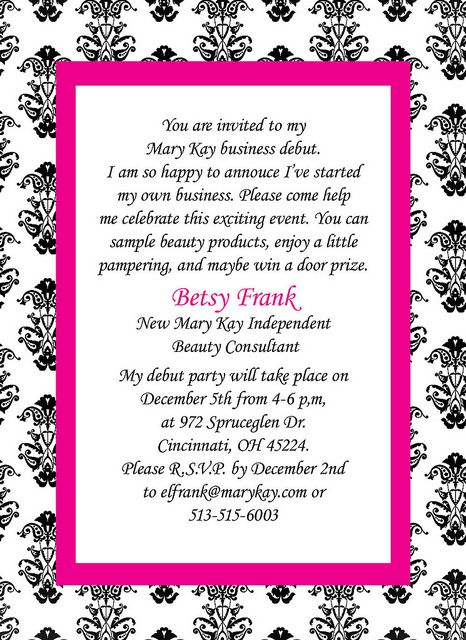 Mary Kay Invitation – Mary Kay Party Invitation