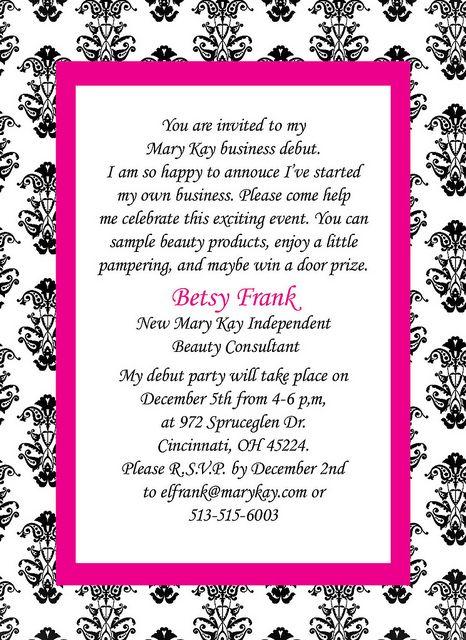 Mary Kay Invitation Mary kay Mary and Business