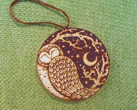 Owl and Moon, original miniature wood burning art