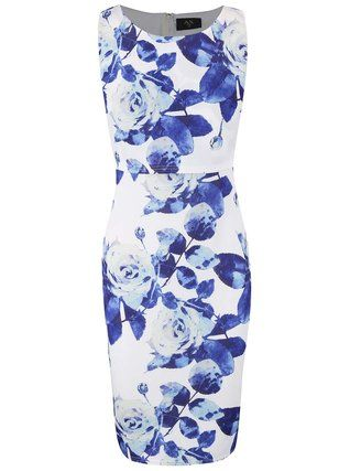 AX Paris - Krémové šaty s dvojitým topem a modrými květy - 1