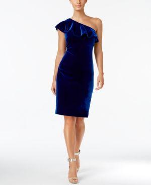 ea4b7e93d9717 Calvin Klein Velvet One-Shoulder Ruffle Dress - Blue 12