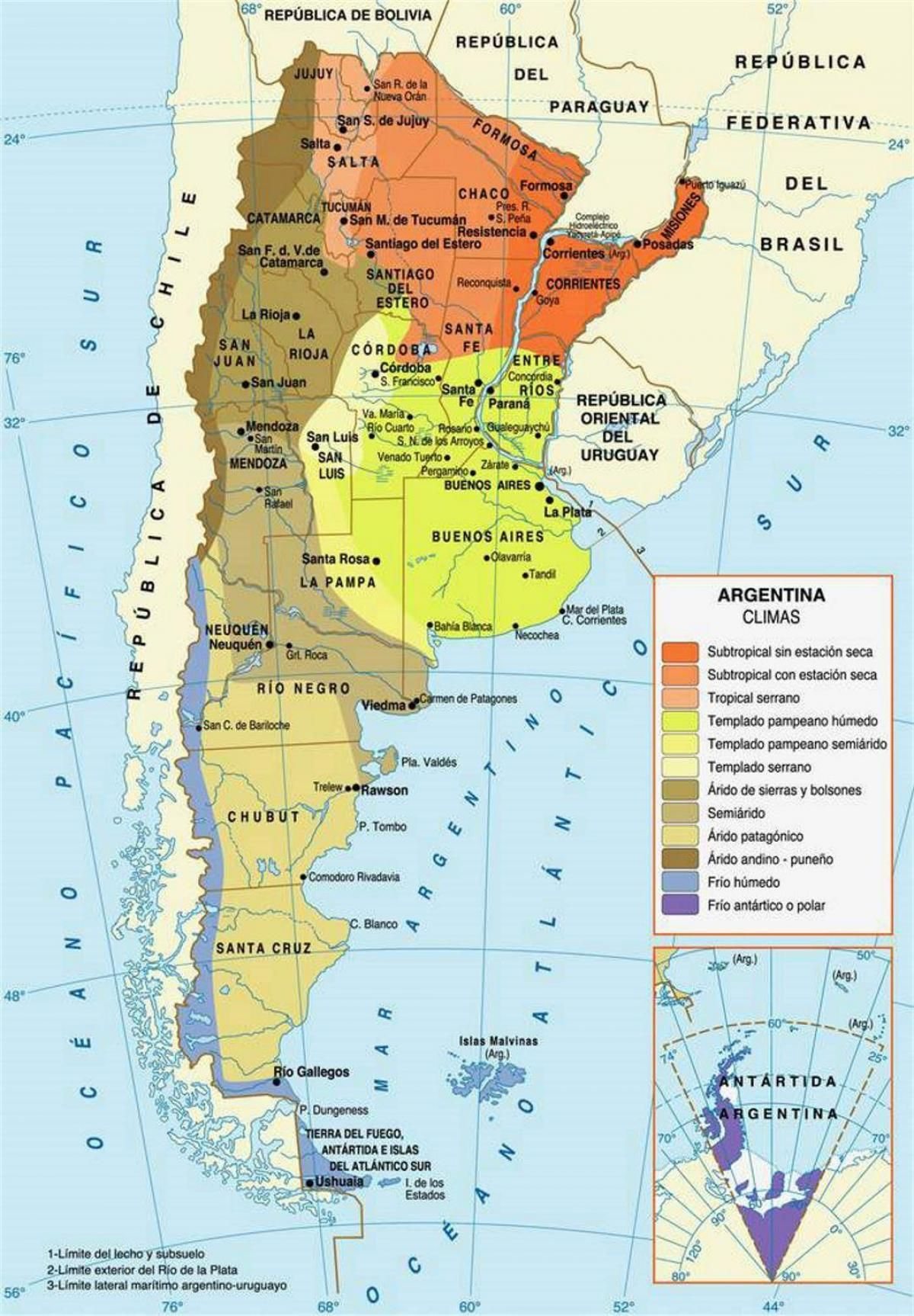 carte de l argentine L'argentine climat carte   carte de l'Argentine climat (Amérique