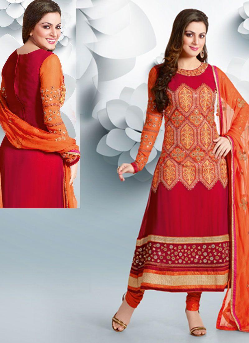 Red and orange combination long shirt with orange churidaar pajama ...