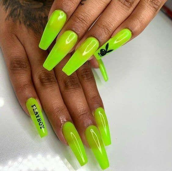 Neon Green Nails In 2020 Pretty Acrylic Nails Neon Green Nails Best Acrylic Nails