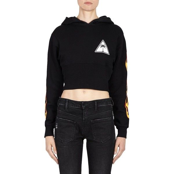 b9e9e3a7f07 Palm Angels Flames Cropped Hoodie ($508) ❤ liked on Polyvore featuring tops,  hoodies, hoodie crop top, cropped tops, long-sleeve crop tops, long sleeve  ...