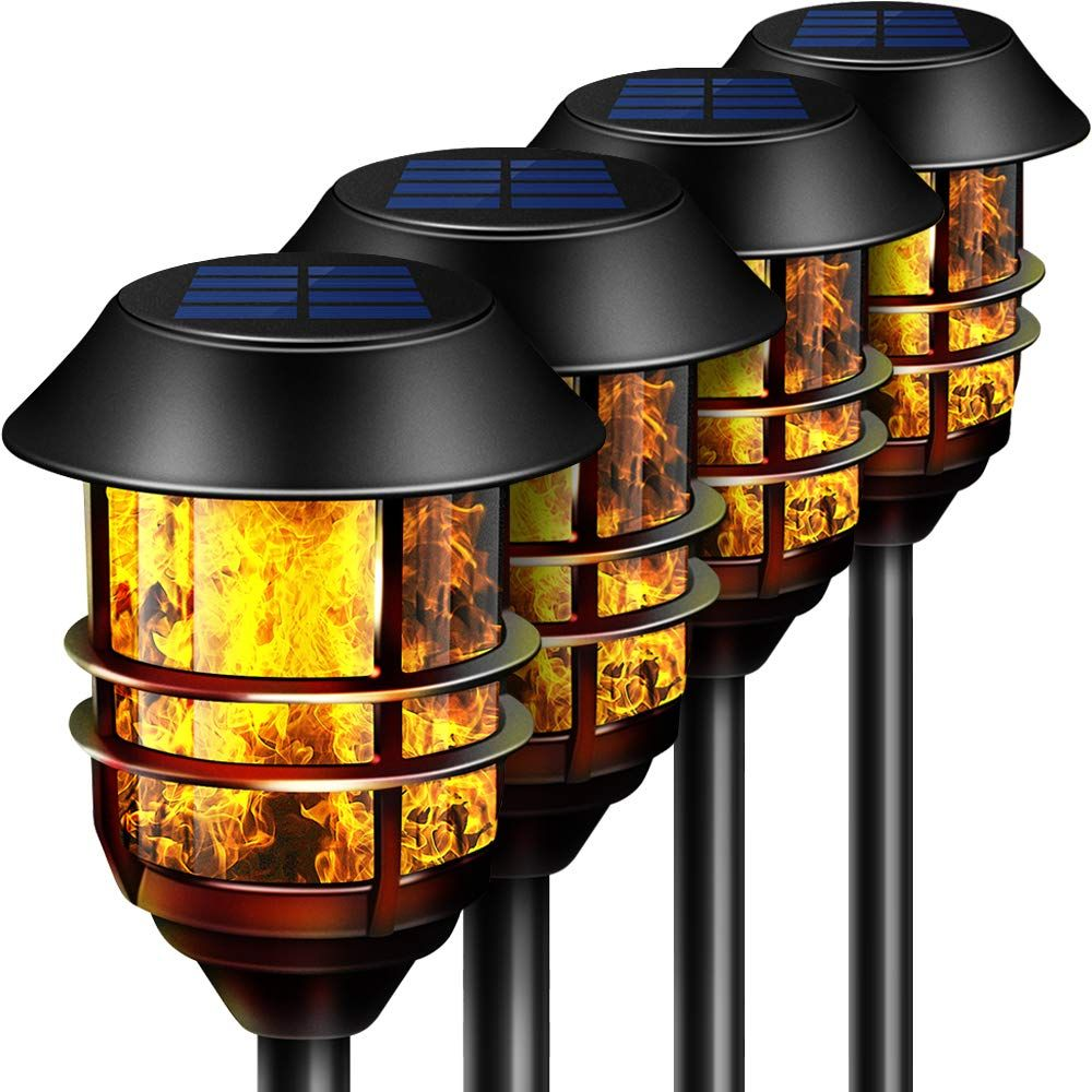 55 Tall Solar Torches Lights 4 Pack With Flicking Flame 100 Metal Led Solar Light Outdoor D In 2020 Outdoor Solar Lights Diy Outdoor Lighting Outdoor Lighting Design