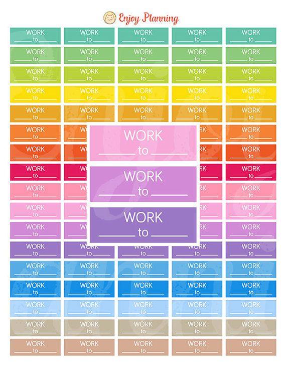 Printable Work Stickers Work Planner Stickers WorkToWork