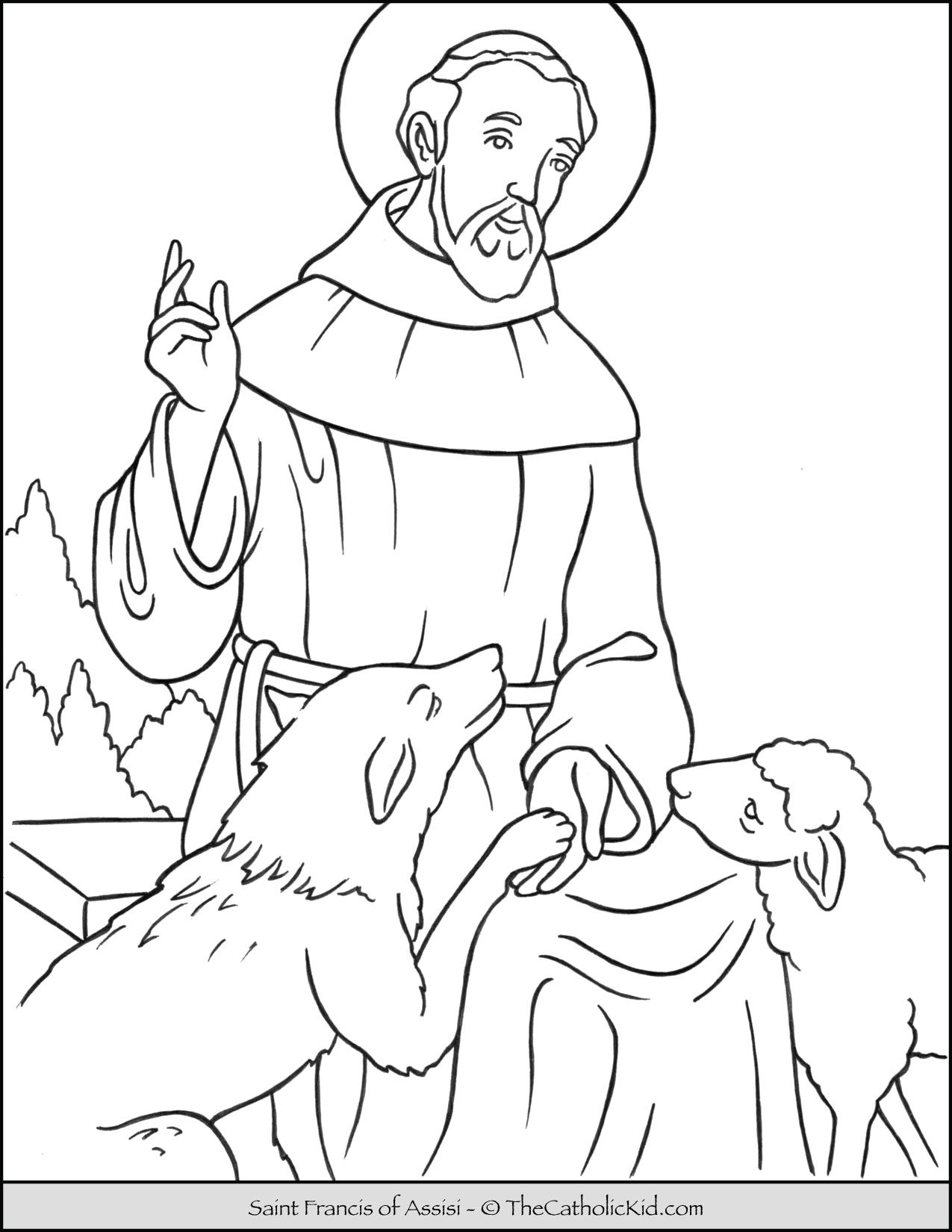 Saint Francis Of Assisi Coloring Page Thecatholickid Com Saint Coloring Coloring Pages Catholic Coloring