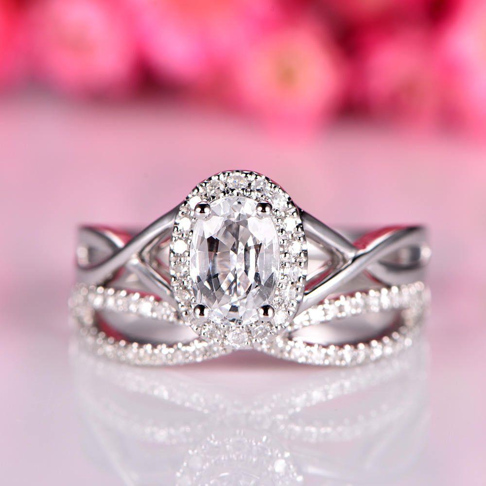 White topaz ring set 5x7mm oval cut topaz engagement ring split ...