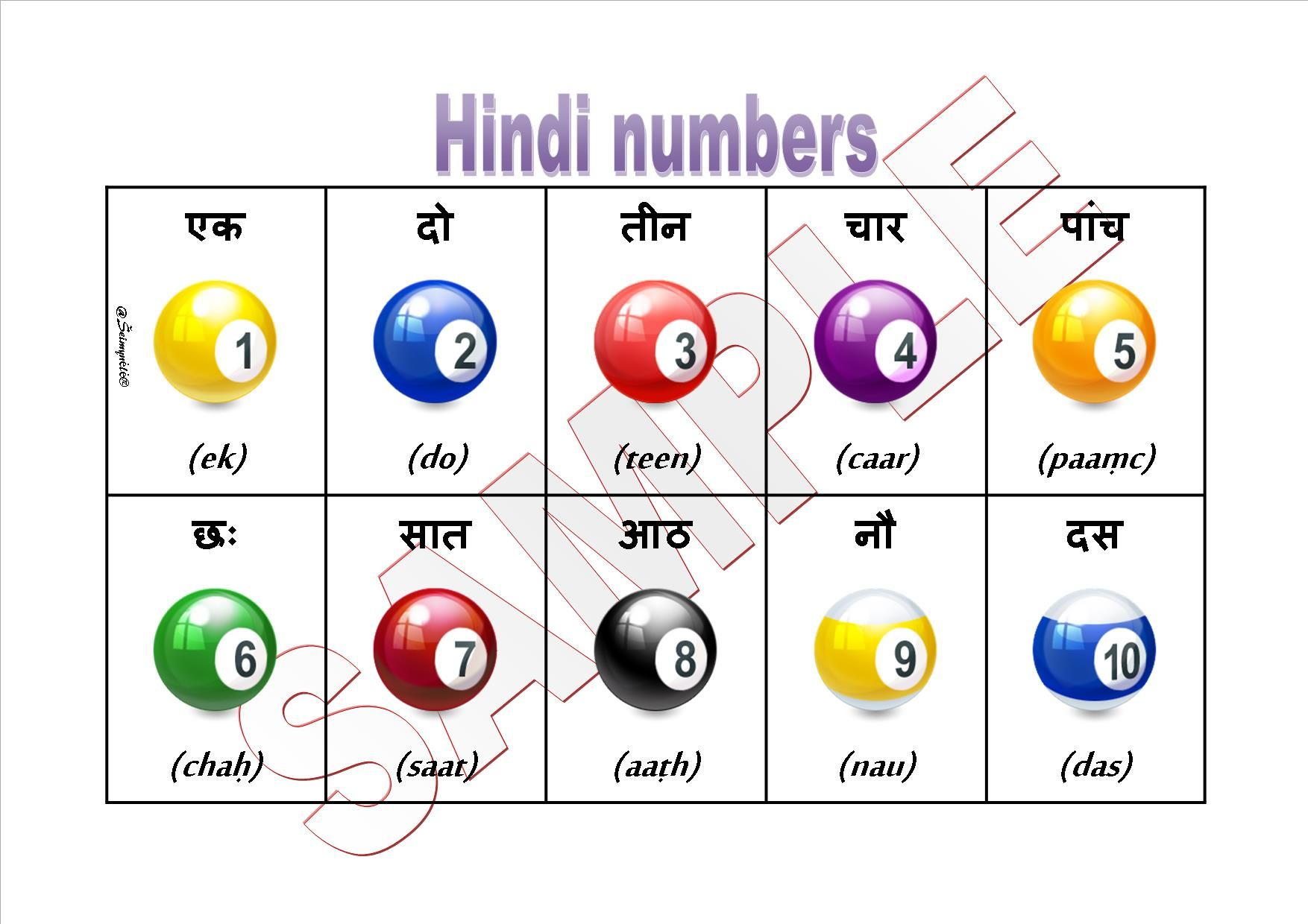 Hindi numbers 1 to 10 with pronunciation | HINDI | Italian ...