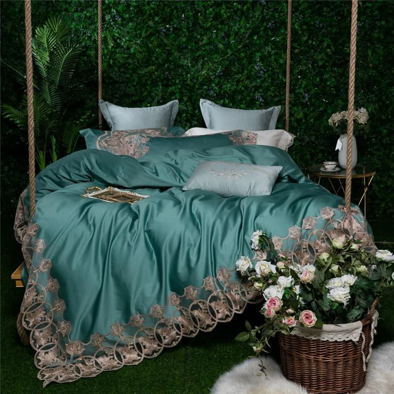 7d3e84ac376a Green 80S Egyptian Cotton Luxury Royal Lace Embroidery Bedding Set King  Queen Size Duvet Cover Bed Linen Bed Sheet Pillowcases.