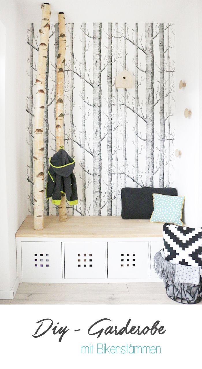 selbst gebaute neue garderobe mit birkenstämmen   dani, flure und, Wohnzimmer dekoo