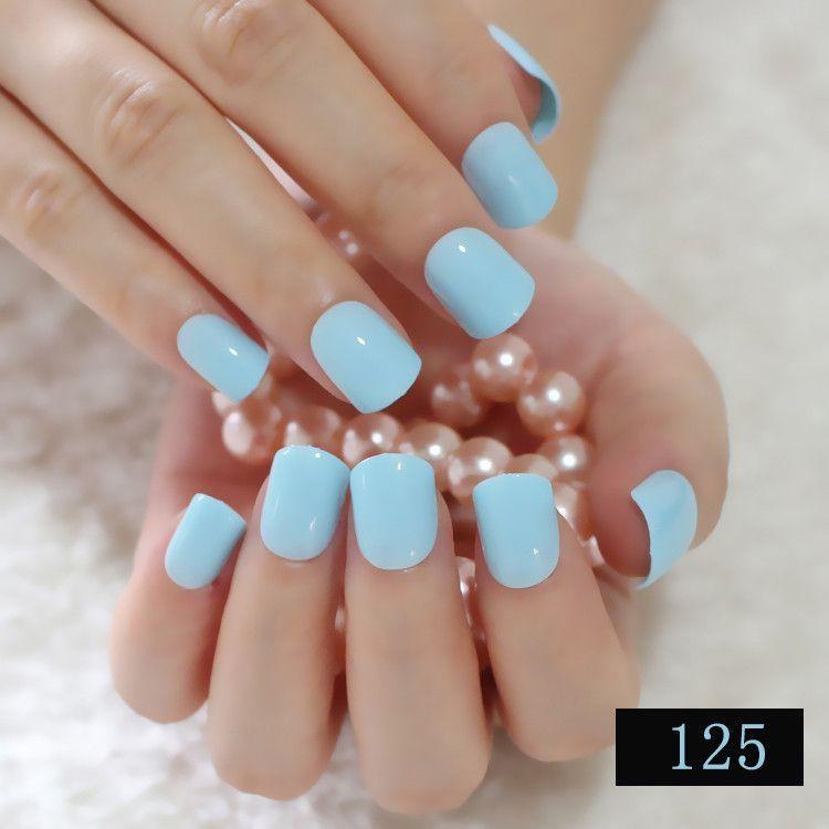 Fashion Lady Candy Fake Nails Tips False Nail Middle Round End Shiny ...