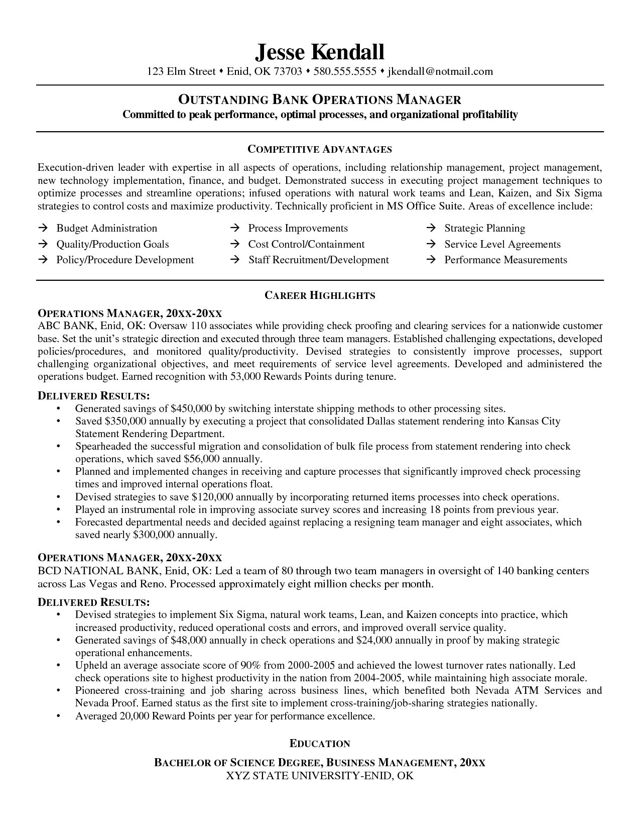 The Best Resumes Resume For Banking Operation Manager  The Best Estimate
