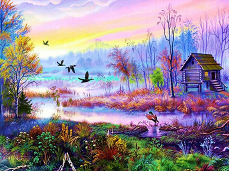 Craft Home Decor Diy Diamond Painting Beautiful Natural Scenery Cross Stitch 5d Landscape Paintings Cabin Art Pictures To Paint