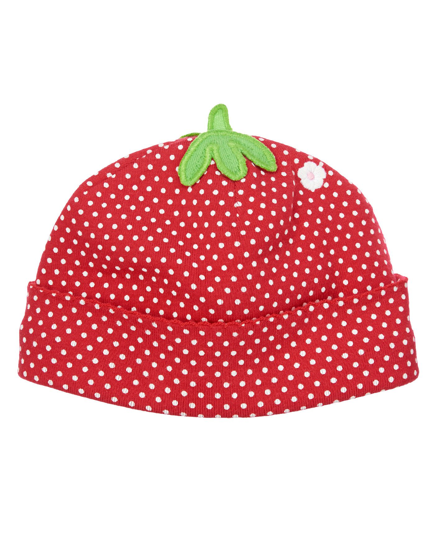 Berry cute hat to keep baby s head warm. Strawberry polka dots with 3-D  stem on top and sweet little flower. Cozy inside. Collection Name  Brand  New Baby 311ffe1be043