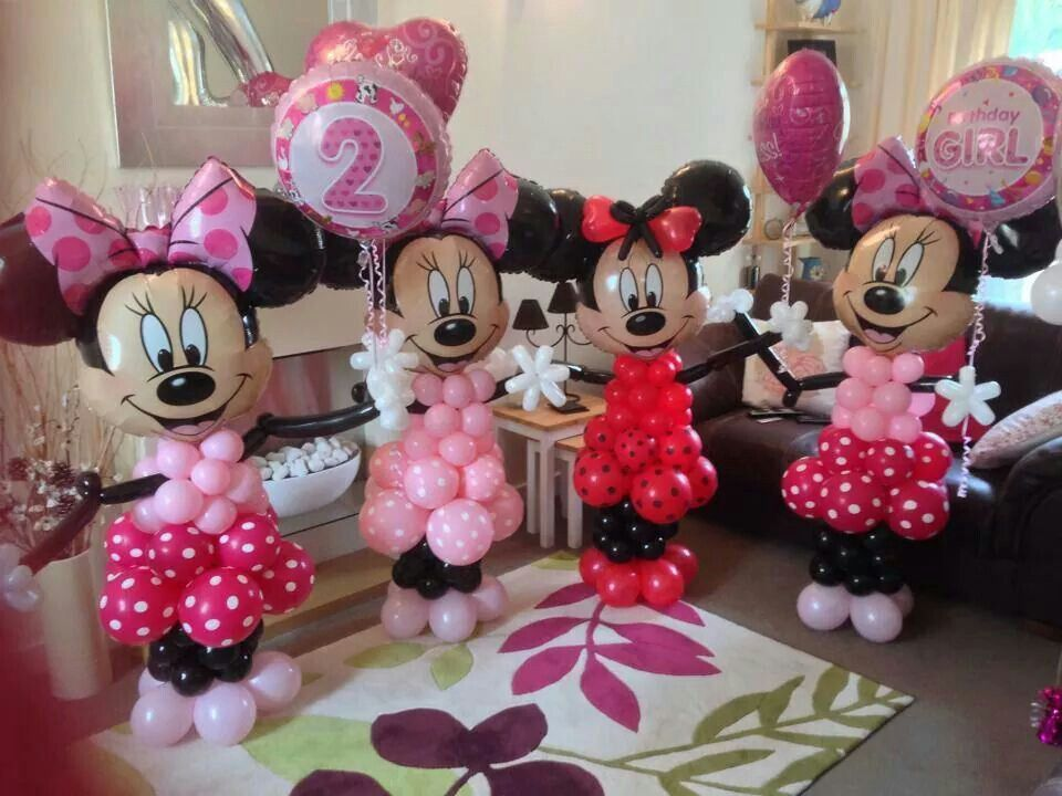 Minnie mouse balloon decoration girl birthday party for Balloon decoration minnie mouse