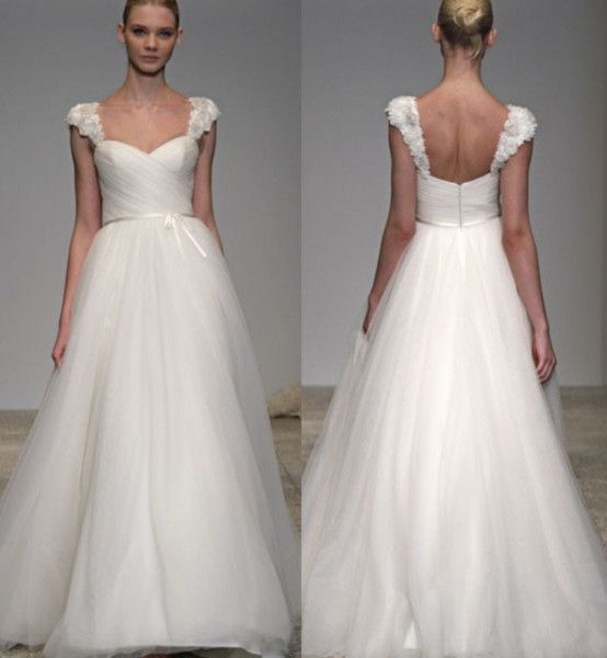 adorable floral straps sweetheart pleated empire waist wedding dress ewwd 199