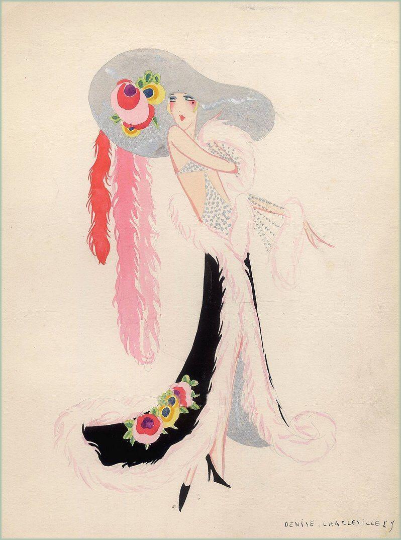 """Denise Charleville Drawing, """"Salon de la Mode par les Artistes"""" Costume Design For Paris Revue Circa 1925"""