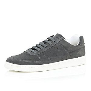 grey suede perforated trainers with images  mens casual