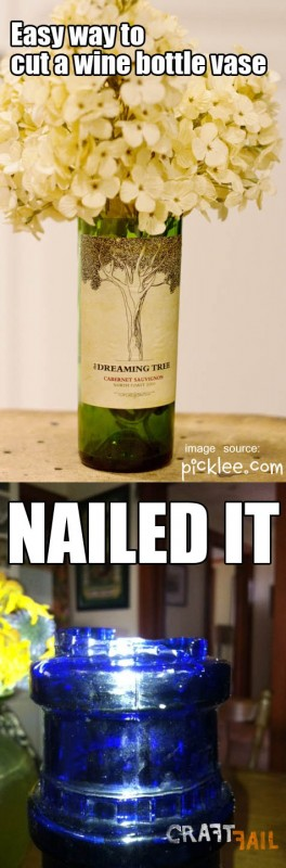 Pinterest fail cut wine bottle craft gone wrong not for Cutting glass bottles with string