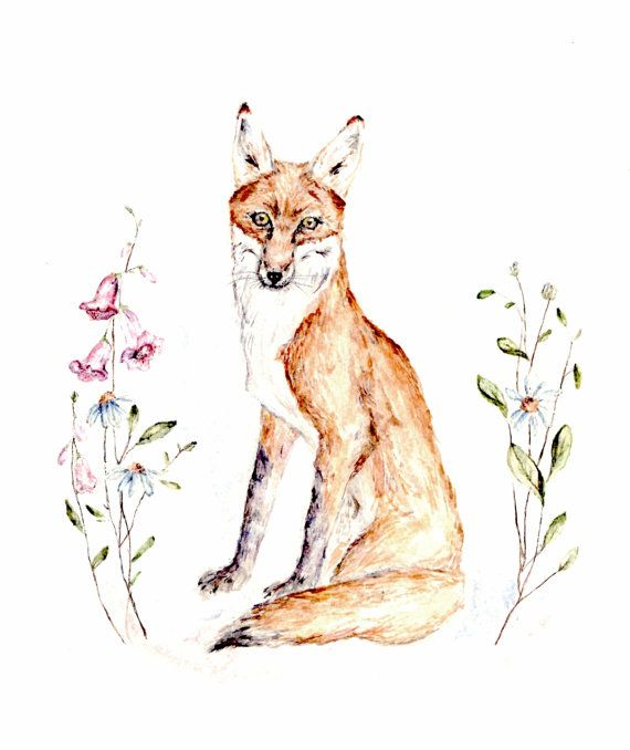 Fox & Foxglove watercolor original painting by honeywilderness