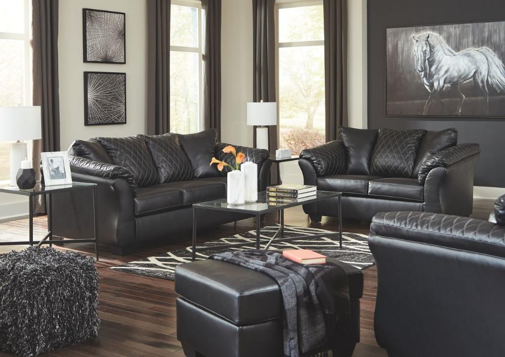 Best Ashley Betrillo Black Sofa Couch Loveseat Chair Ottoman Augeron Table Set Black Living 400 x 300