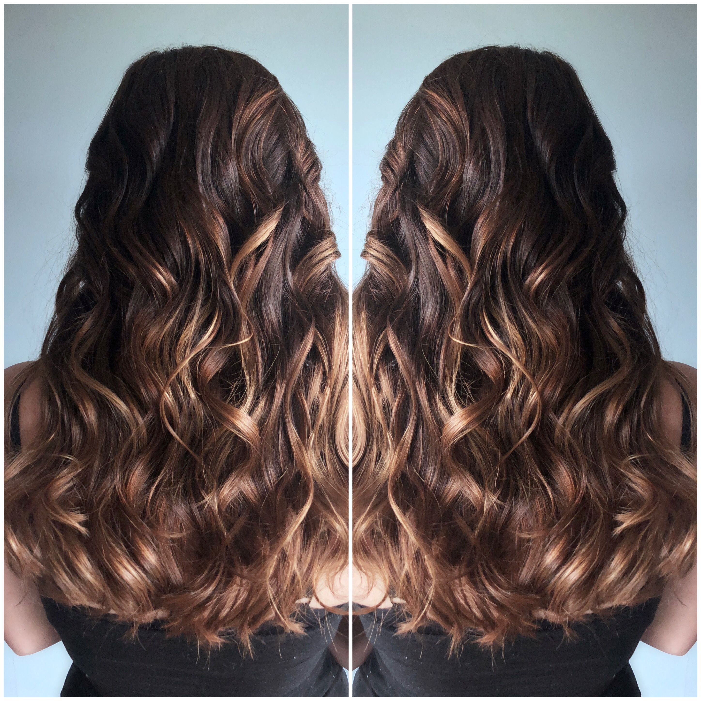 Balayage Highlight And Style Curled Brown Hair Balayage Dark Hair With Highlights Brown Hair With Highlights And Lowlights