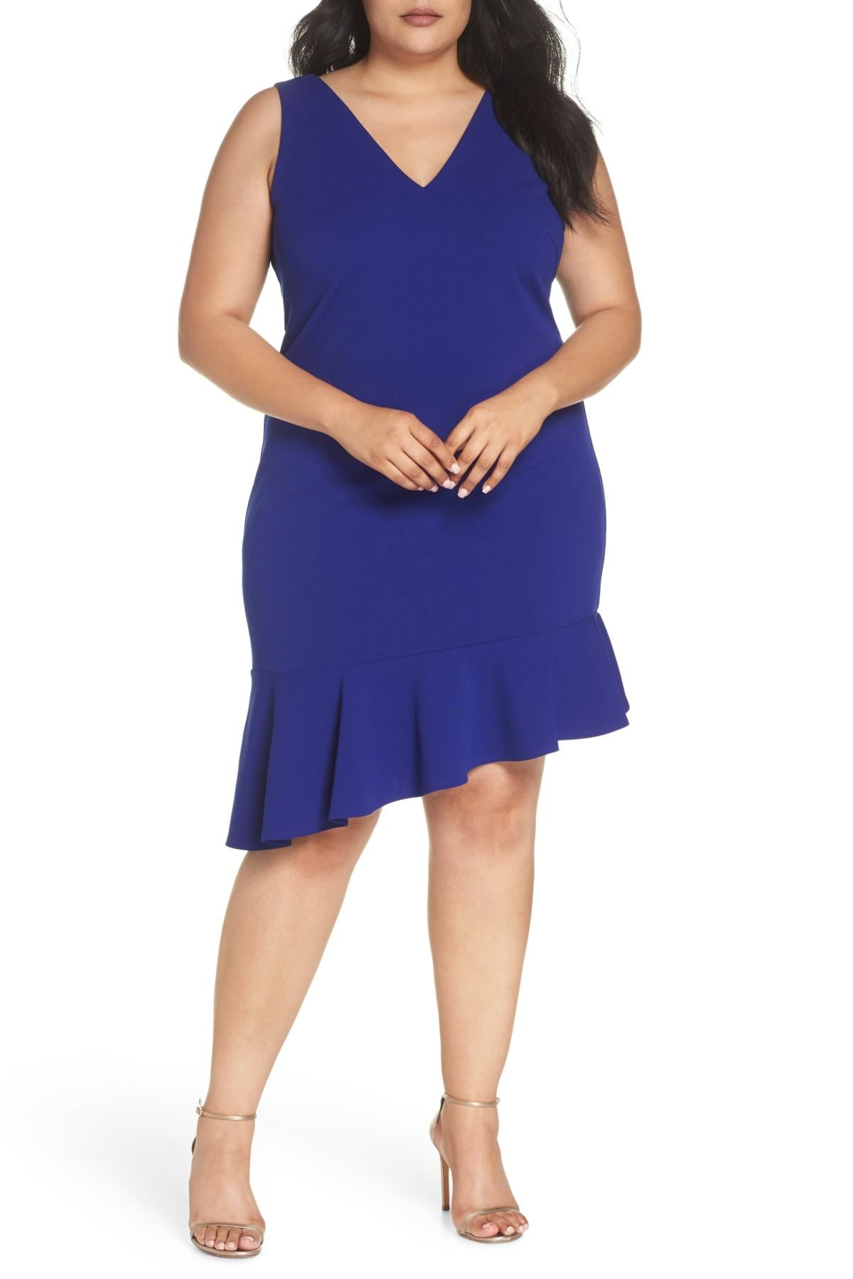 Ruffle Hem Scuba Crepe Body-Con Dress (Plus Size) | Plus Size ...