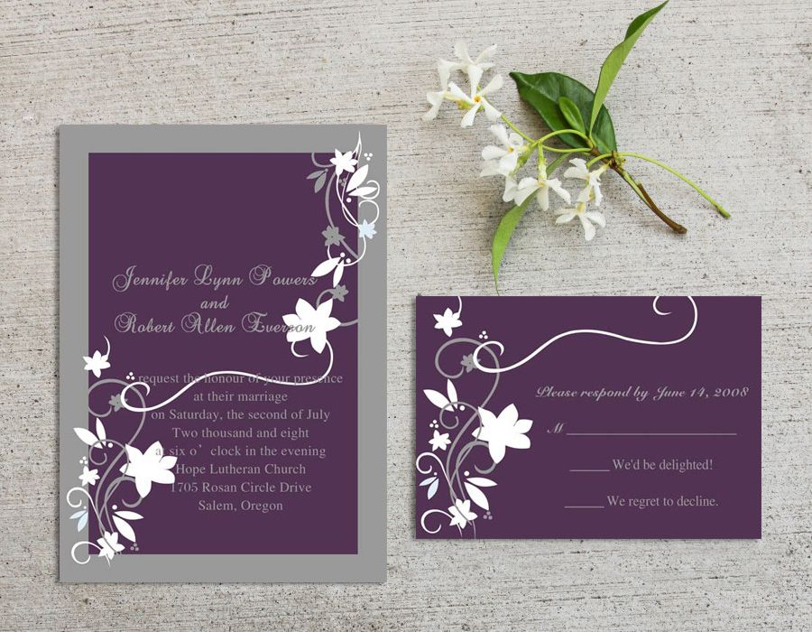 Cheap Rustic Floral Plum Wedding Invitations Ewi001 Plum Wedding Invitations Grey Wedding Invitations Floral Wedding Invitations