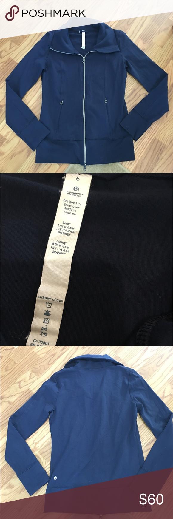 Lululemon jacket Dark blue lululemon zip up jacket! Perfect condition! Longer version of the define jacket! Size 6! lululemon athletica Jackets & Coats