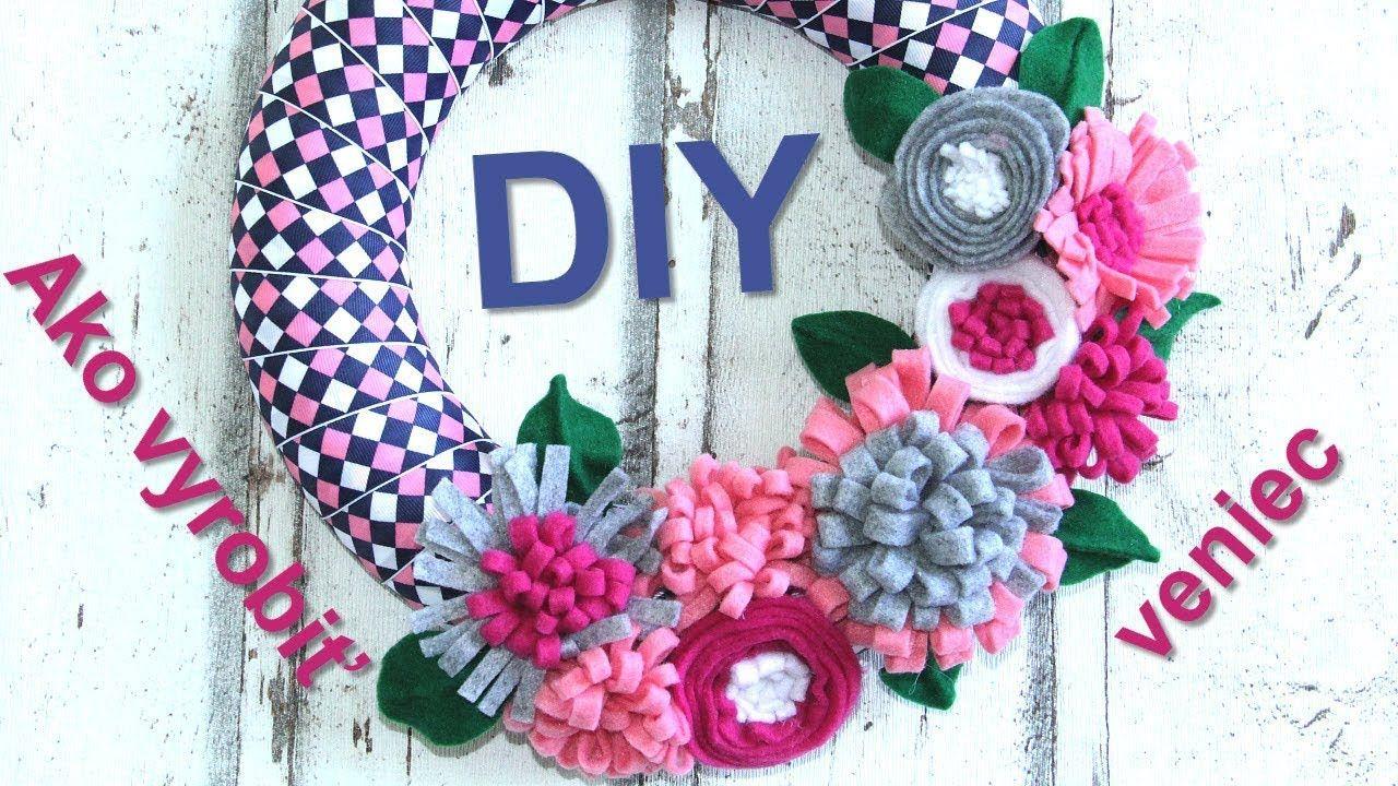 947f0e3b234f Návod na jarný veniec s filcovými kvetinami - DIY tutorial - YouTube ...