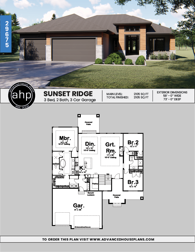 1 Story Modern Style House Plan Sunset Ridge Modern Style House Plans Modern Bungalow House Plans Prairie Style Houses