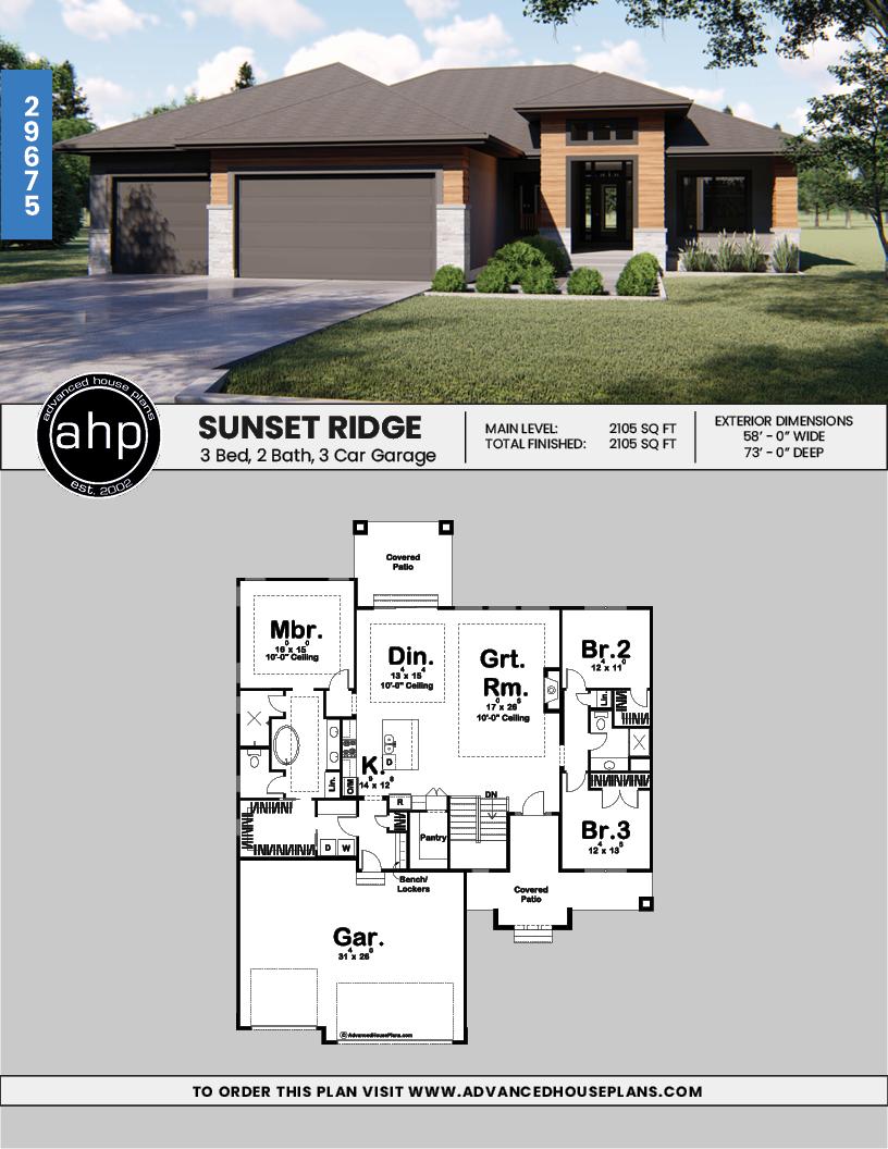 Sunset Ridge 1 Story Modern Modern Prairie House Plan Modern