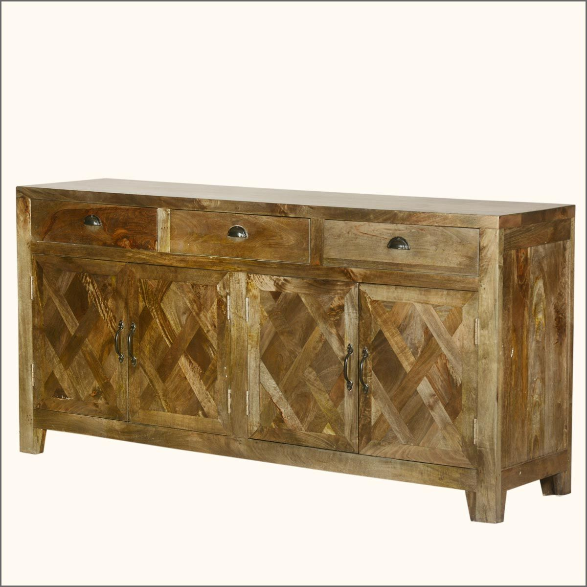 Parquet Diamond Mango Wood Sideboard Buffet Cabinet Intricately Assembled  Pieces Of Wood Create Our Dynamic Parquet
